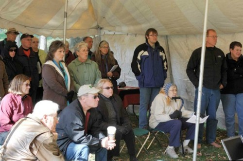 The Newark Earthworks Day celebrations also included an open house at the Octagon Earthworks. Lectures were provided in a small tent provided by the Ohio Historical Society.