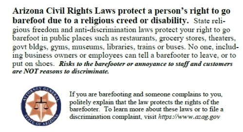 AZ Barefooting Rights Card